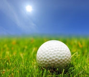 A golf ball on a green grass. And a blue sky stock photography