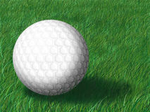 Golf ball on green grass. Macro view of white golf ball on green grass with copy space Royalty Free Stock Photo