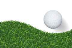 Golf ball and green grass background with area for copy space. V royalty free illustration