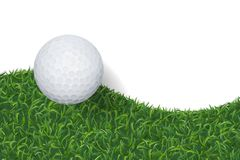 Golf ball and green grass background with area for copy space. Vector. stock illustration