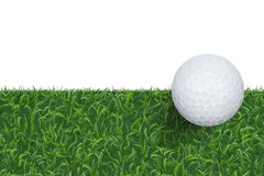 Golf ball and green grass background with area for copy space. Vector. royalty free illustration