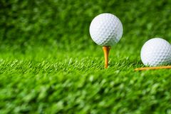 Golf ball with green grass background, on tee closeup. Royalty Free Stock Photography