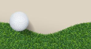 Golf ball with green grass background. Vector. royalty free illustration