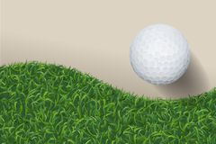 Golf ball with green grass background. Vector. stock illustration