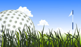 Golf ball on the green grass Stock Photos