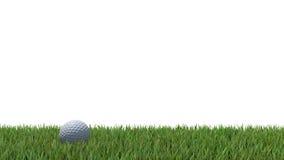 Golf ball on green 04. Golf ball on green grass 3D render Stock Photography