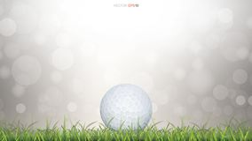 Golf ball on green grass field with light blurred bokeh background. Vector illustration vector illustration