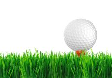 Golf ball on the green grass of the golf course Royalty Free Stock Photography