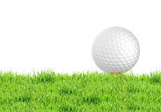 Golf ball on the green grass of the golf course stock photography