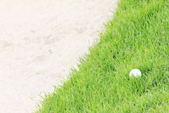 Golf ball on green grass near sand bunker. Royalty Free Stock Image
