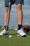 Golf ball on green grass prepare Stock Photo