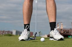 Golf ball on green grass prepare Royalty Free Stock Images