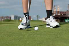 Golf ball on green grass prepare Royalty Free Stock Image