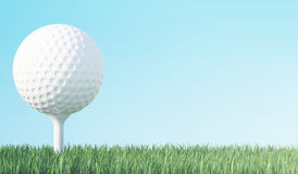 Golf ball on green grass ready to be shot, blue sky background. 3d illustration Royalty Free Stock Photography