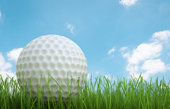 Golf ball on green grass side view Royalty Free Stock Images