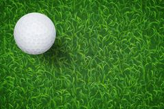 Golf ball on green grass texture background. Vector. vector illustration