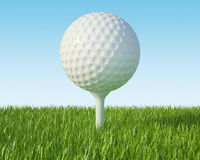 Golf ball on the green lawn. The grass with blue sky. 3d illustration High resolution Royalty Free Stock Photography