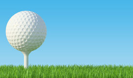 Golf ball on the green lawn. The grass with blue sky. 3d illustration High resolution Stock Photos