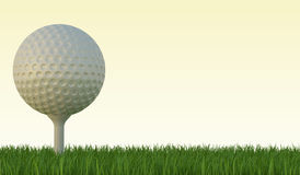 Golf ball on the green lawn. The grass with yellow sky. 3d illustration High resolution Stock Image
