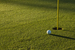 Golf Ball on Green at Sunrise Stock Images