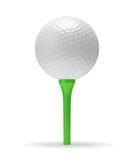 Golf ball on the green tee Royalty Free Stock Photos