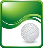 Golf ball on green wave background Royalty Free Stock Images