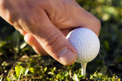 Golf ball in hand Stock Photography