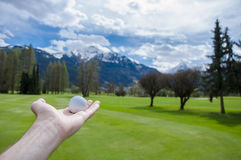 Golf ball on hand Stock Photo