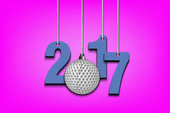 Golf ball and 2017 hanging on strings. New Year numbers 2017 and golf ball as a Christmas decorations hanging on strings. Vector illustration Royalty Free Stock Images