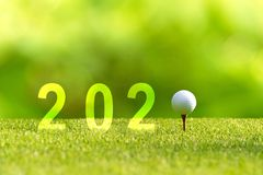 Golf ball for Happy New Year 2020 on the green golf for new healthy sporty, copy space.