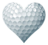 Golf Ball Heart. Concept of a heart shaped golf ball symbolising the love of golf stock illustration