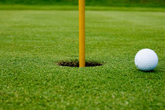 A golf ball in the hole green Royalty Free Stock Photography