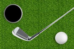 Golf ball and hole on the green grass of the golf Royalty Free Stock Photos