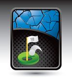 Golf ball hole in one on blue cracked background Stock Photo
