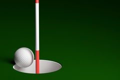 Golf Ball Hole In One, 3D Rendering Royalty Free Stock Photos