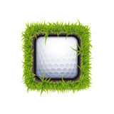 Golf ball icon. Vector IOS or Android Golf Ball In The Hole One Icon Isolated On White Stock Image