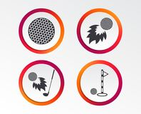 Golf ball icons. Fireball with club symbol. Golf ball icons. Fireball with club sign. Luxury sport symbol. Infographic design buttons. Circle templates. Vector Stock Images