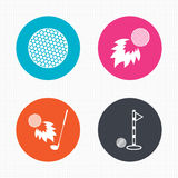 Golf ball icons. Fireball with club symbol. Circle buttons. Golf ball icons. Fireball with club sign. Luxury sport symbol. Seamless squares texture. Vector Stock Image