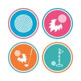 Golf ball icons. Fireball with club symbol. Royalty Free Stock Image