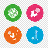Golf ball icons. Fireball with club symbol. Golf ball icons. Fireball with club sign. Luxury sport symbol. Round buttons on transparent background. Vector Royalty Free Stock Photography