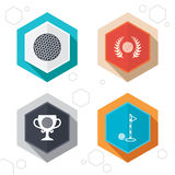 Golf ball icons. Laurel wreath award symbol Royalty Free Stock Photos