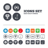 Golf ball icons. Laurel wreath award symbol Stock Image