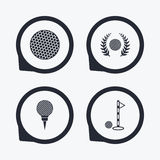 Golf ball icons. Laurel wreath award symbol. Stock Image