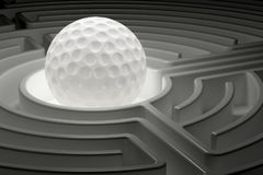 Golf ball inside labyrinth maze. 3D rendering Royalty Free Stock Image