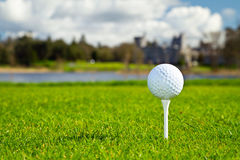 Golf ball on Irish course. Golf ball on Irish idyllic course Royalty Free Stock Photos