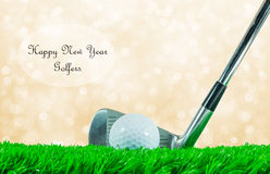 Golf ball and iron club and quote Stock Photography