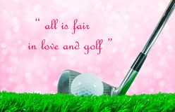 Golf ball and iron club and quote Stock Images