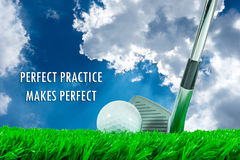 Golf ball and iron club and quote. White golf ball and iron club on green artificial grass in summer blue sky background and quote ` PERFECT PRACTICE MAKES Stock Images