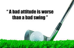Golf ball and iron club and quote Royalty Free Stock Photo