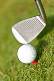 Golf ball and iron on green grass detail macro summer outdoor Stock Images